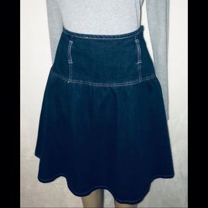 Willi Smith Blue Jean Denim Skirt Fit And Flare 8